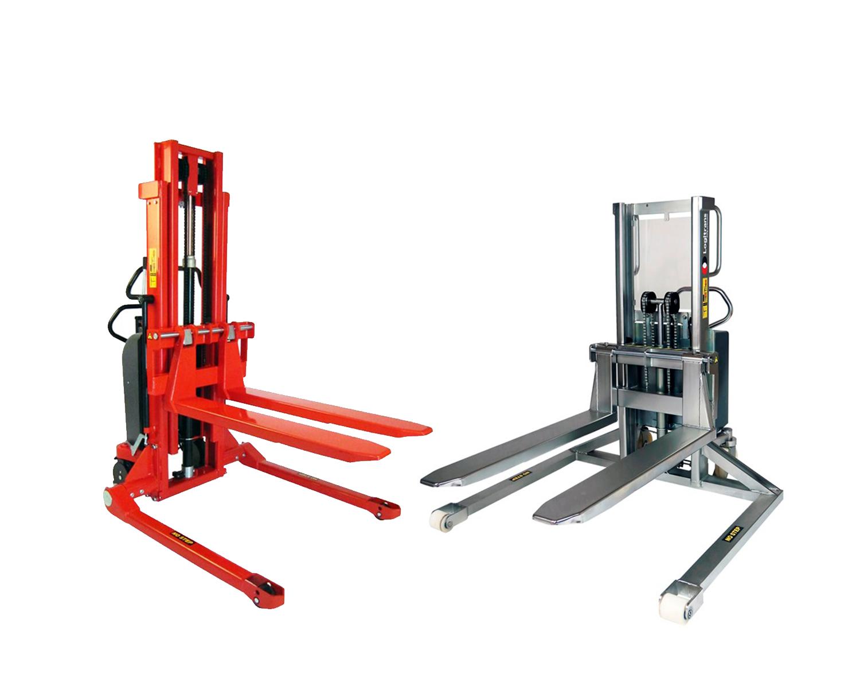 Semi-elektrische stapelaars met brede poten in inox en standaard uitvoering