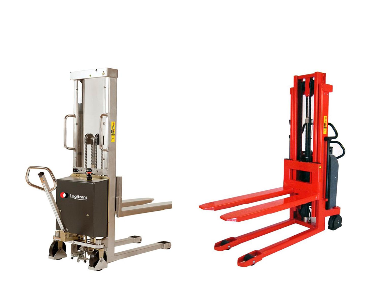 Semi-elektrische stapelaars in inox en standaard uitvoering