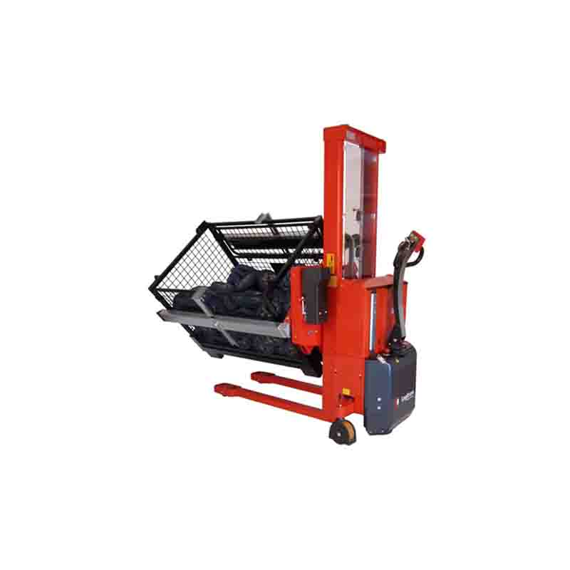 Rotator with fixed box holder for lifting and rotating boxes and crates
