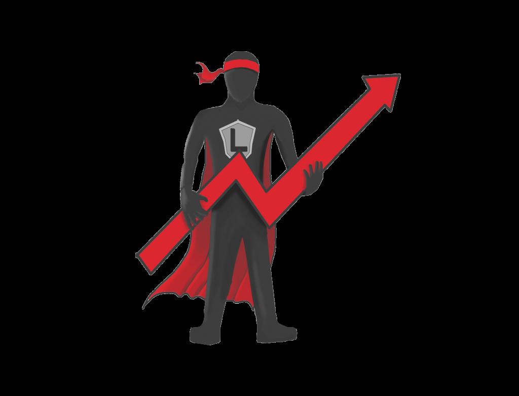 La mascotte de Logitrans avec une flèche ascendante